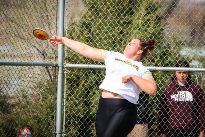 Payton Bray throws during the district 3-5A meet Friday, April 2nd, 2021, at Dick Bivins in Amarillo. [Ben Jenkins/ For the Amarillo Globe-News]