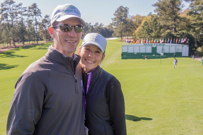 Golfer Rachel Heck with her father, Robert Heck, following her practice round at the 2021 Augusta National Women's Amateur at Augusta National Golf Club.