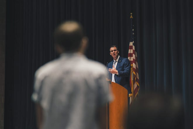 Gov. Kevin Stitt answered various questions from Bartlesville High School students during his visit to Bartlesville on Thursday.