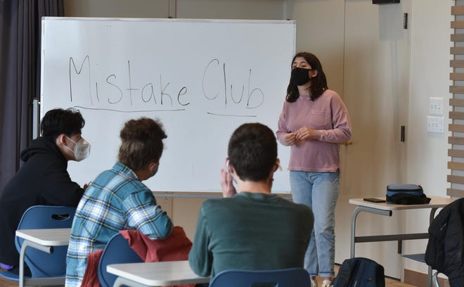 Tasha Sudofsky opens a recent lunchtime meeting of the Mistake Club at Falmouth Academy.