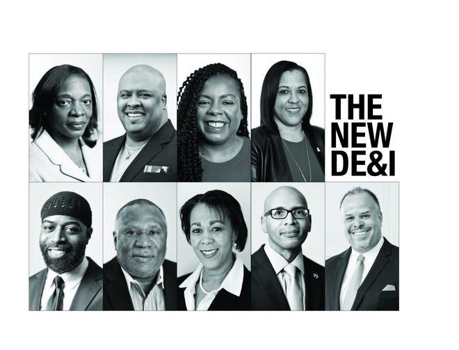 Columbus-area corporate diversity, equity and inclusion professionals from top left: Priscilla Hammonds, Adrian Sullivan, Qiana Williams, Angela Bretz, Erik Farley, Steve Francis, Rhonda Talford Knight, Shayne Downton and Ralph Smithers Jr.