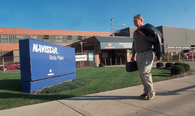 An employee leaves the Navistar plant in Springfield, Ohio.