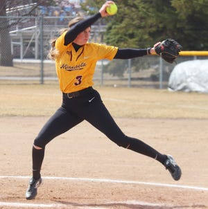 Katie Humhej and the Minnesota Crookston softball team lost two games to Northern State Sunday afternoon.