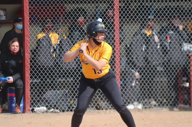 Alina Avalos in a game against Sioux Falls on April 2. Avalos went 4-for-5 with three RBIs and a homer in UMC's doubleheader Saturday against Concordia-St. Paul.