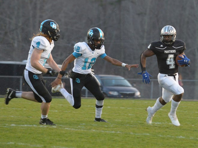 Ledford's Christian Franklin returns a kickoff against Oak Grove last week. Franklin returned a kickoff for a touchdown against Salisbury on Thursday. [Mike Duprez/The Dispatch]