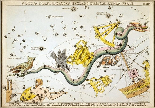 Hydra and surrounding constellations, are depicted in  Urania's Mirror, charted by Sidney Hall and published in 1825. Notice the cat constellation.  ... Library of Congress/ Wikimedia Commons