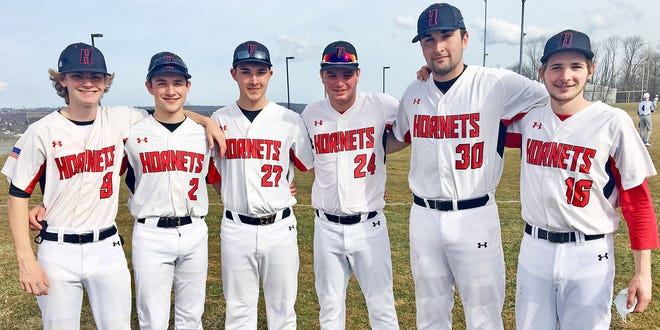 These six young men will be playing key leadership roles for Honesdale's varsity baseball team this spring. The Hornets are scheduled to open up their Lackawanna League slate on Tuesday afternoon at home versus Delaware Valley. Pictured here are (from left): Garrett Tonkin, Sam Jones, Timmy Jackson, Jake Panza, Jimmy Rodda, Paul Meagher.