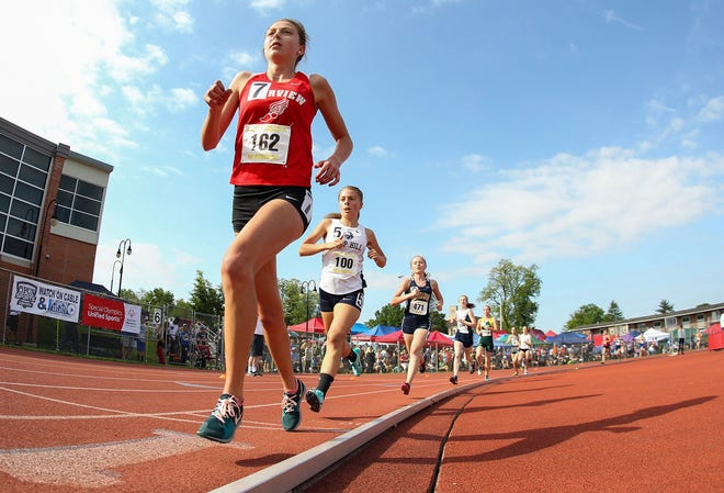 Fairview's Maddison Hayes competes in the girls Class 2A 3200-meter run final at the PIAA track & field championships at Seth Grove Stadium at Shippensburg University on May 25, 2019. She placed fifth in the event.