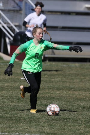 Indian Hills Community College goalkeeper Elani Mears (0) kicks the ball down the field during their season home opener against Southeastern Community College Thursday April 1, 2021, at IHCC in Ottumwa.