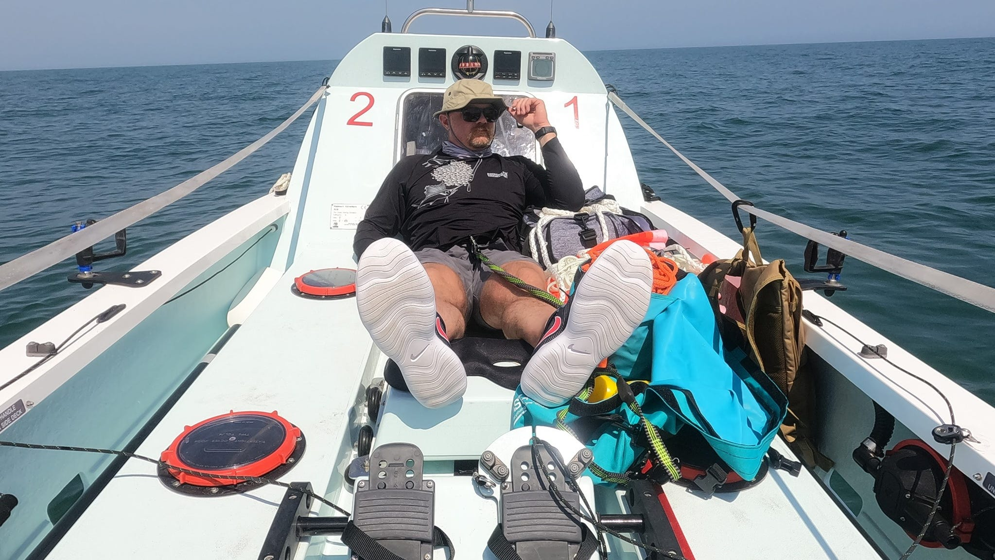 Ben Odom on a Row4Hope ocean-row training expedition with partner Mat Steinlin (not shown).