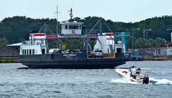 The St. Johns River Ferry heads to the Fort George slip. It's back in service after some maintenance and facility upgrades.