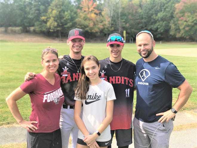 Rebecca (Manca) Mexico is pictured with her family from left, son Sebastian, daughter Myla, son Watson and husband Dr. Todd Mexico. The former 'Gansett pitcher said following her children's pitching exploits over the years has given her a better appreciation of her own.