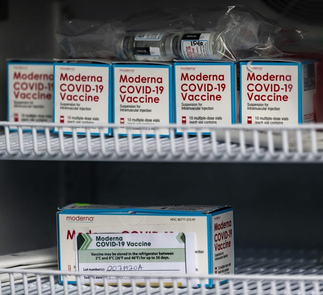 Vials of Moderna COVID-19 vaccine sit in a refrigerator in Riverside, Ca.  LiveWell Finney County will be host mobile COVID testing/vaccine event on April 8 at East Garden Village.