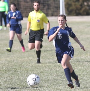TMP's Macy Eberle heads toward the goal during the Monarchs' 2-0 win against Great Bend on Thursday. [Rick Peterson Jr./Hays Daily News]