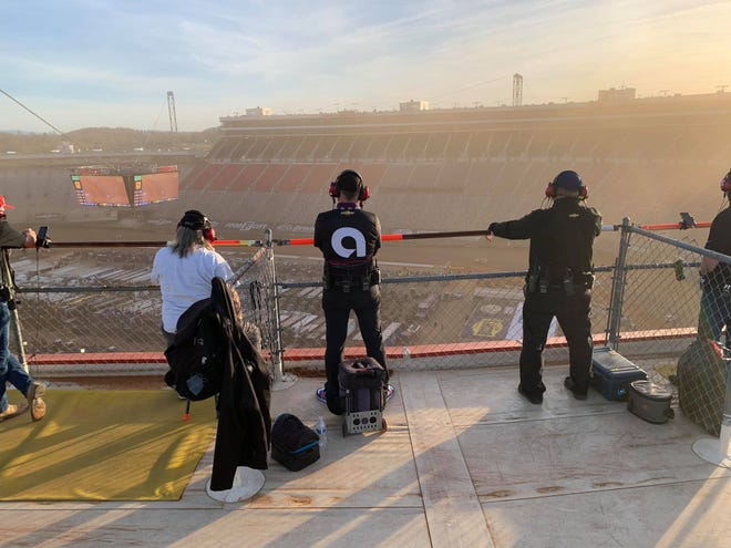 This was the view for Hendersonville's Steve Barkdoll and the other spotters for the race at Bristol Motor Speedway's dirt track this past weekend.