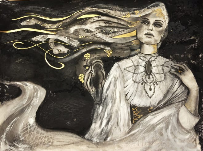 Ovid's Medusa, 2016, acrylic and pastel