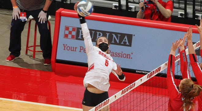 Bradley volleyball player Hannah Thompson delivers an attack on Friday in the semifinals of the Missouri Valley Conference tournament at Redbird Arena in Normal.