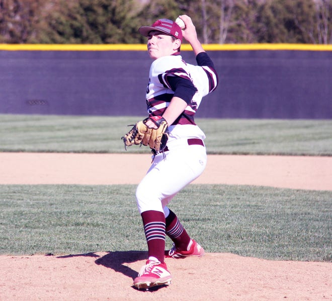 Osage senior Dominick Vernetti fires a pitch towards home plate in a game against Climax Springs on April 1 in Osage Beach. Vernetti pitched four innings of shutout baseball and recorded 10 strikeouts.