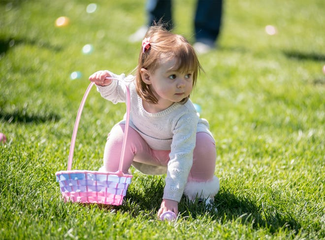 An easter egg is spotted during the Osage Beach egg hunt in 2019.