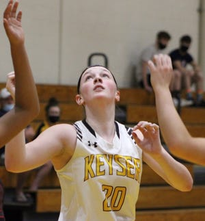 Shown in previous action, Keyser's Alexa Shoemaker led the Lady Tornado on Thursday against Moorefield with 18 points.