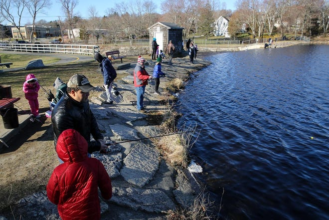 Louisa Lake in Milford is a popular fishing spot for locals. A latex paint spill at the lake on Wednesday should not affect the town's drinking water, local officials said.