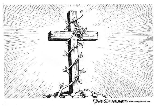 Easter cross cartoon