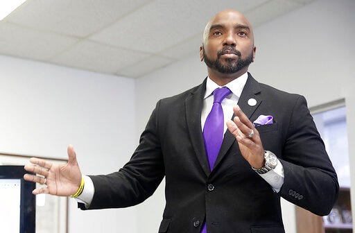 FILE - In this Friday, June 26, 2020, file photo, attorney Damario Solomon-Simmons speaks during a news conference in Tulsa, Okla. Solomon-Simmons, who has sued the city of Tulsa for reparations for the 1921 Tulsa Race Massacre, filed a lawsuit Wednesday, March 31, 2021, against the city for records related to the massacre. (Mike Simons/Tulsa World via AP, File)