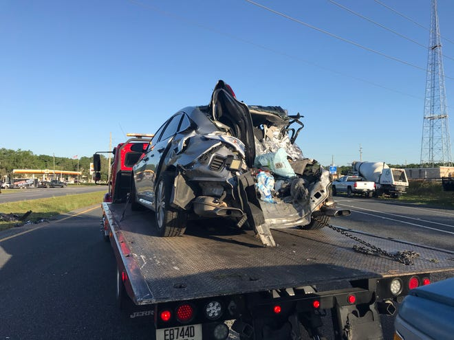 This was one of the six vehicles damaged Friday morning on Maricamp Road just east of Southeast 36th Avenue. Two people were injured.