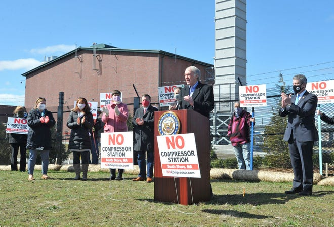Sen. Edward Markey is applauded as he addresses a rally opposing the Enbridge gas compressor station in North Weymouth, Friday, April 2, 2021. Tom Gorman/For The Patriot Ledger