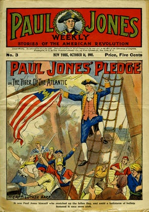 A cover of the 32-page Paul Jones Weekly, a pulp action magazine targeted to young male readers and based very loosely on the exploits of the historical Scottish mariner.