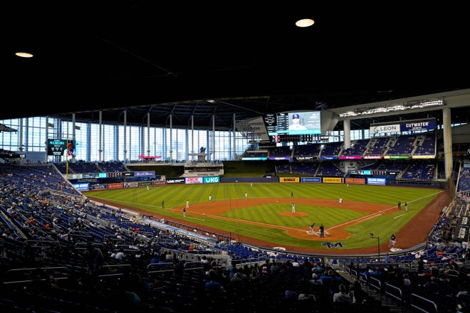 Opening Day in Miami for Marlins game against the Tampa Bay Rays.  [Jasen Vinlove-USA TODAY Sports]