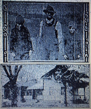 In a 1921 photograph, Adam Hartong is pictured with two of his sons. The lower image shows the Hartong home, which was under quarantine a century ago due to the death of three of Hartong's children from an illness. Their passings followed the deaths of two other Hartong children, who also died after Hartong and his wife, both followers of the religious beliefs of John Alexander Dowie, followed the self-proclaimed prophet's advice to refuse medical treatment for disease and rely on the curative powers of prayer.