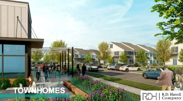 This rendering shows what townhomes in Cannon 35 will look like along with a space for a business across the street.