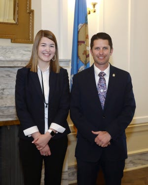 Sen. Zack Taylor, R-Seminole, joins Prague High School senior, Graceyn Hyden, who served as a page for the Senate during the ninth week of the legislative session from March 29-April 1.