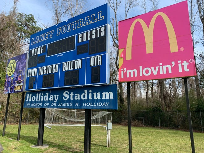 Laney High School scoreboard at Holiday Stadium.