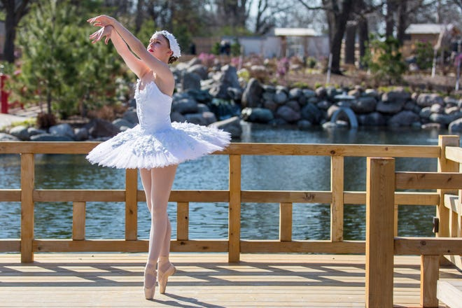 """Guinevere Nelson, a dancer with Kansas Ballet, demonstrates a short dance Friday morning from the company's upcoming """"Carnival of the Animals"""" performances on April 24 and 25 at the Topeka Zoo."""
