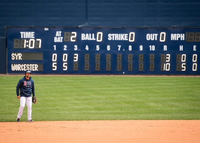 Michael Chavis and the Worcester Wall at Polar Park, shown in the background, could create some interesting scenarios together this season.