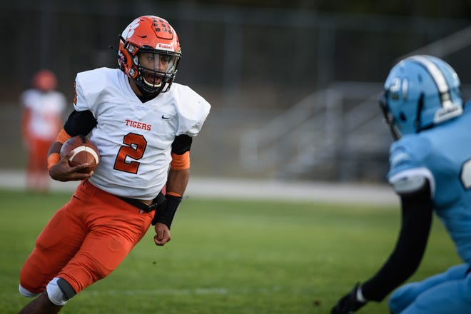 South View junior quarterback Cedavion Wimbley continues to shine in his first season with the Tigers. He accounted for five touchdowns against Overhills in Week 6.