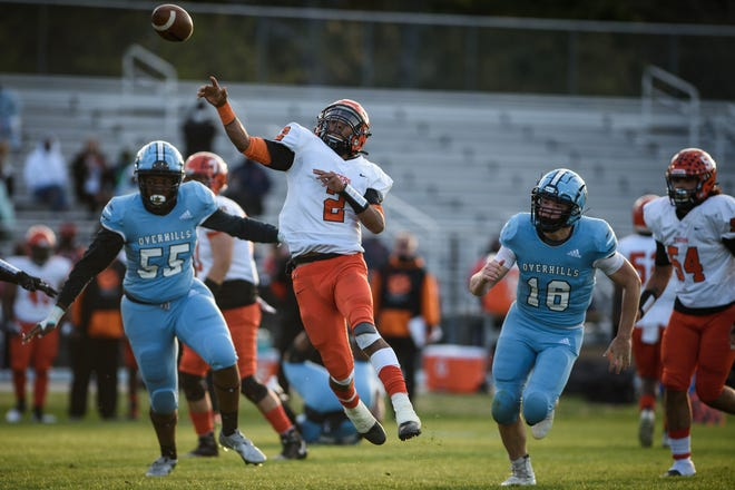South View quarterback Cedavion Wimbley passes the ball during the second quarter against Overhills on Thursday, April 1, 2021, at Overhills High School.