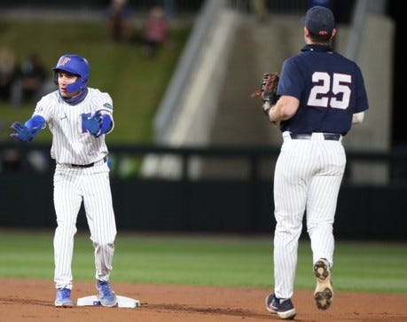 Florida's Jacob Young reached on a double in the first inning Thursday against Ole Miss. Young scored on Nathan Hickey's double.