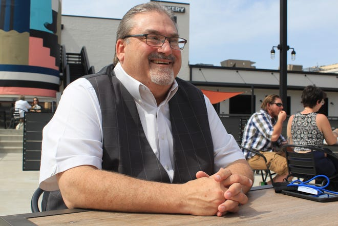 Fort Smith Advertising and Promotion Commission Director Timothy Jacobsen speaks to the Times Record on Wednesday, March 24, 2021, at the Bakery District.