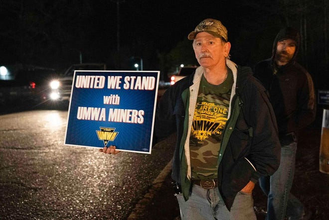 A supporter stands in solidarity with striking coal miners in Brookwood after the United Mine Workers of America failed to reach an agreement with Warrior Met Coal Inc.