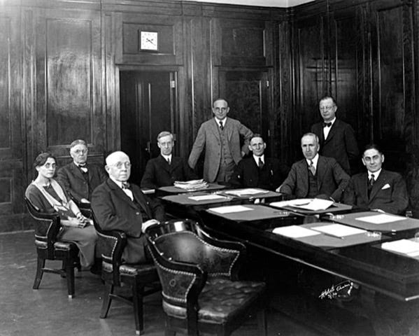 Grandview Heights resident Julius Stone (front left) is shown in this 1926 photo of the Ohio State University board of trustees. Stone was sitting in front of Alma W. Paterson, the first female member of the board.