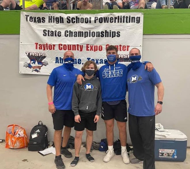 Midlothian High senior powerlifters Jordan McKenzie (second from left) and Kaleb Tompkins (second from right) pose with their coaches at the Texas High School Powerlifting State Championships in Abilene. McKenzie finished second in the state in his weight class.