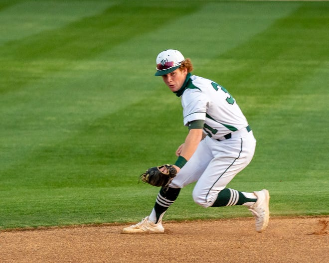 Waxahachie infielder Lucas Ferguson grabs a grounder during a recent game. The Indians won back-to-back road games this week with wins at DeSoto and Mansfield Lake Ridge.