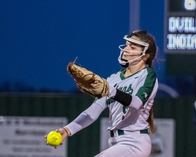 Waxahachie sophomore Kylee Raney pitches during a recent District 11-6A softball contest against Duncanville. The Lady Indians routed DeSoto in five innings on Tuesday night, 16-1.
