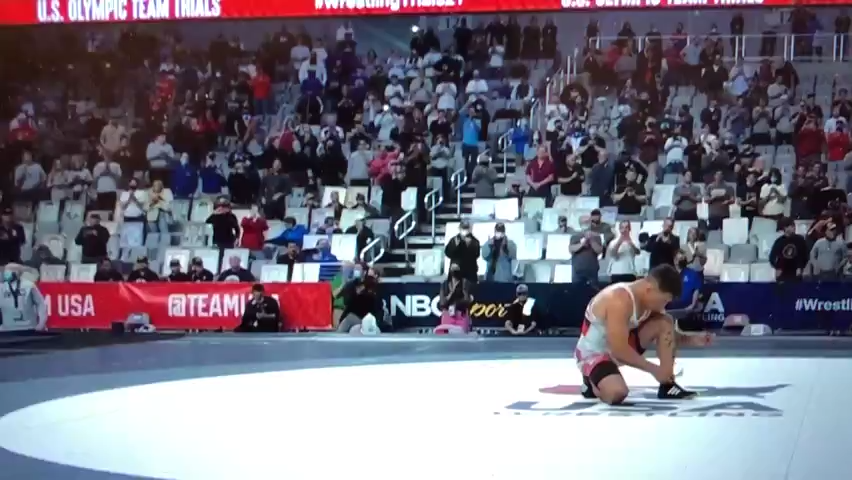 Frank Molinaro announces retirement from wrestling by leaving shoes on mat