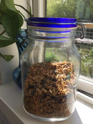 Bake up a batch of this easy granola and store it in a air-tight jar to grab for breakfast or a snack.