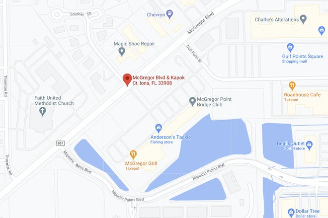 Area of fatal crash in Iona on Friday, April 2, 2021.