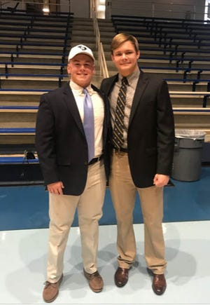 Former Dorman football standouts Nathan Storch, left, and Dillon Droze have been lifelong teammates who will face off for the first time Saturday when Storch and The Citadel play against Droze and Wofford.
